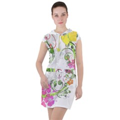 Flowers Floral Drawstring Hooded Dress by HermanTelo