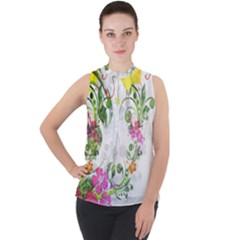 Flowers Floral Mock Neck Chiffon Sleeveless Top by HermanTelo
