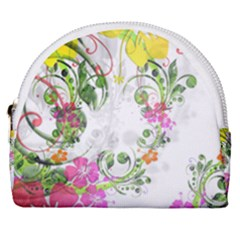 Flowers Floral Horseshoe Style Canvas Pouch