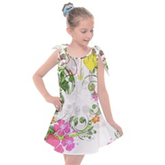 Flowers Floral Kids  Tie Up Tunic Dress