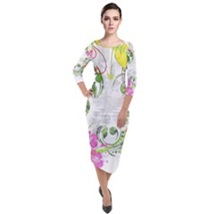 Flowers Floral Quarter Sleeve Midi Velour Bodycon Dress by HermanTelo
