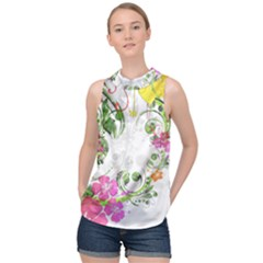 Flowers Floral High Neck Satin Top by HermanTelo