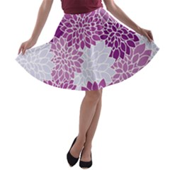Floral Purple A Line Skater Skirt