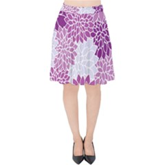 Floral Purple Velvet High Waist Skirt