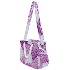 Floral Purple Rope Handles Shoulder Strap Bag by HermanTelo