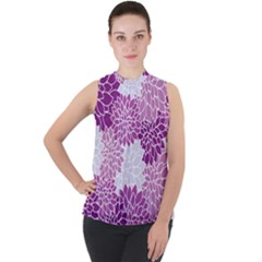 Floral Purple Mock Neck Chiffon Sleeveless Top by HermanTelo