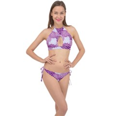 Floral Purple Cross Front Halter Bikini Set