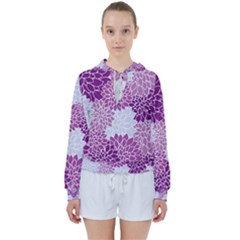 Floral Purple Women s Tie Up Sweat by HermanTelo