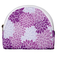 Floral Purple Horseshoe Style Canvas Pouch by HermanTelo