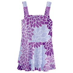 Floral Purple Kids  Layered Skirt Swimsuit