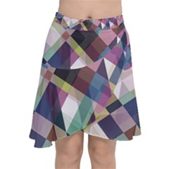 Geometric Blue Violet Pink Chiffon Wrap Front Skirt
