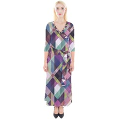 Geometric Blue Violet Pink Quarter Sleeve Wrap Maxi Dress by HermanTelo