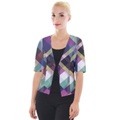 Geometric Blue Violet Pink Cropped Button Cardigan