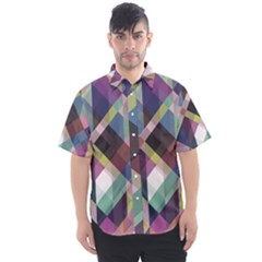 Geometric Blue Violet Pink Men s Short Sleeve Shirt