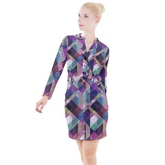Geometric Blue Violet Pink Button Long Sleeve Dress