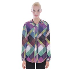 Geometric Blue Violet Pink Womens Long Sleeve Shirt by HermanTelo