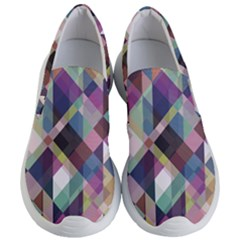 Geometric Blue Violet Pink Women s Lightweight Slip Ons by HermanTelo