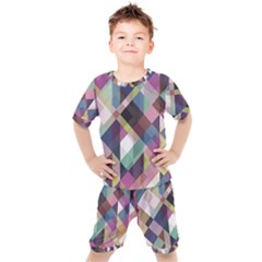 Geometric Blue Violet Pink Kids  Tee And Shorts Set by HermanTelo