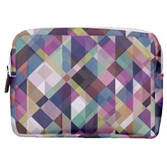 Geometric Blue Violet Pink Make Up Pouch (medium) by HermanTelo