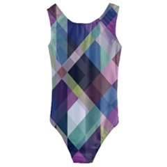 Geometric Blue Violet Pink Kids  Cut Out Back One Piece Swimsuit