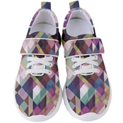 Geometric Blue Violet Pink Women s Velcro Strap Shoes by HermanTelo