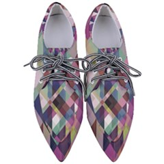 Geometric Blue Violet Pink Pointed Oxford Shoes