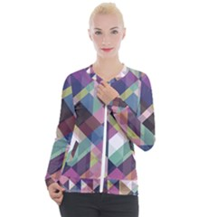 Geometric Blue Violet Pink Casual Zip Up Jacket
