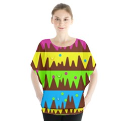 Illustration Abstract Graphic Rainbow Batwing Chiffon Blouse by HermanTelo