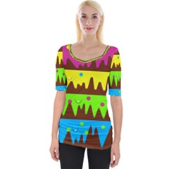 Illustration Abstract Graphic Rainbow Wide Neckline Tee by HermanTelo