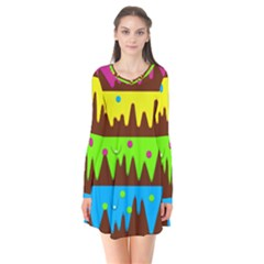 Illustration Abstract Graphic Rainbow Long Sleeve V Neck Flare Dress by HermanTelo