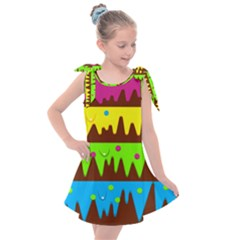 Illustration Abstract Graphic Rainbow Kids  Tie Up Tunic Dress