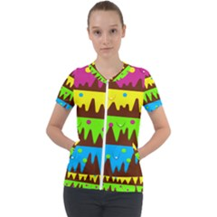 Illustration Abstract Graphic Rainbow Short Sleeve Zip Up Jacket