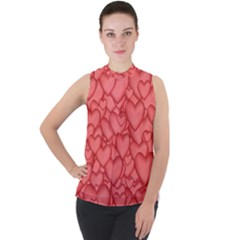 Hearts Love Valentine Mock Neck Chiffon Sleeveless Top by HermanTelo