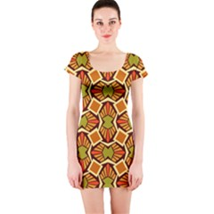 Geometry Shape Retro Short Sleeve Bodycon Dress