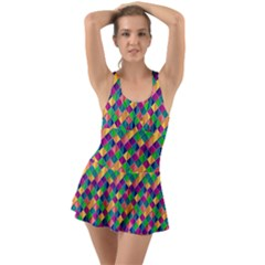 Geometric Triangle Ruffle Top Dress Swimsuit
