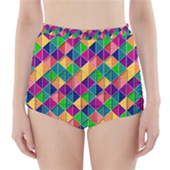 Geometric Triangle High Waisted Bikini Bottoms