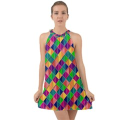 Geometric Triangle Halter Tie Back Chiffon Dress by HermanTelo