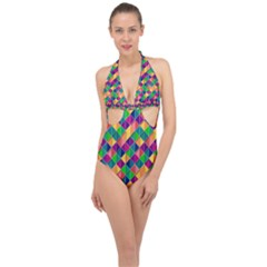 Geometric Triangle Halter Front Plunge Swimsuit