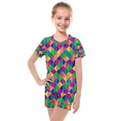 Geometric Triangle Kids  Mesh Tee And Shorts Set