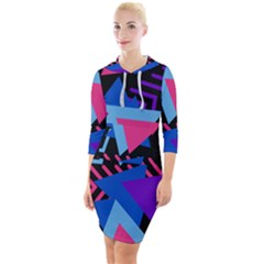 Memphis Pattern Geometric Abstract Quarter Sleeve Hood Bodycon Dress by HermanTelo