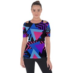 Memphis Pattern Geometric Abstract Shoulder Cut Out Short Sleeve Top