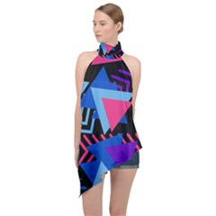 Memphis Pattern Geometric Abstract Halter Asymmetric Satin Top by HermanTelo