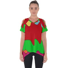 Liquid Forms Water Background Cut Out Side Drop Tee