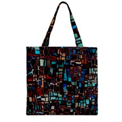 Mosaic Abstract Zipper Grocery Tote Bag by HermanTelo