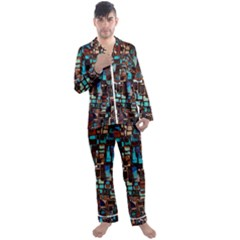 Mosaic Abstract Men s Satin Pajamas Long Pants Set by HermanTelo
