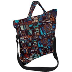 Mosaic Abstract Fold Over Handle Tote Bag