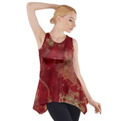 Marble Red Yellow Background Side Drop Tank Tunic