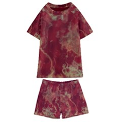 Marble Red Yellow Background Kids  Swim Tee And Shorts Set by HermanTelo