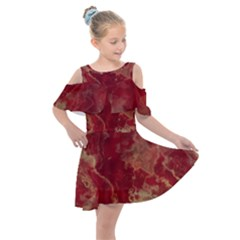 Marble Red Yellow Background Kids  Shoulder Cutout Chiffon Dress