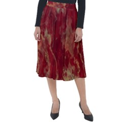 Marble Red Yellow Background Classic Velour Midi Skirt